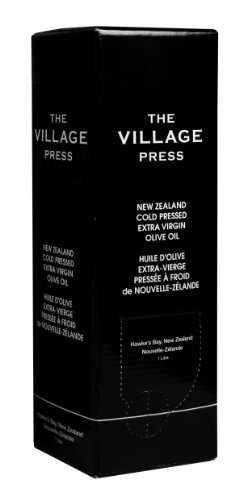 The Village Press Extra Virgin New Zealand Barnea Olive Oil, 34 oz, Easy-Pour Light Block Bag-in-a-Box With Tap, 100% First Cold Pressed Extra Virgin Olive Oil