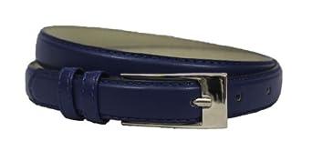 Solid Color Leather Adjustable Skinny Belt - Night Blue - L