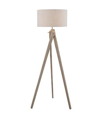 Lite Source Wolcott 1-Light Floor Lamp, Antique Silver/Beige/Off-White