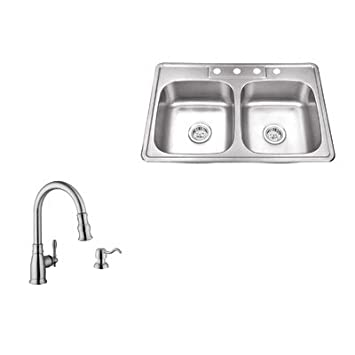 "33"" x 22"" Double Bowl Drop-In Stainless Steel Kitchen Sink with Faucet"