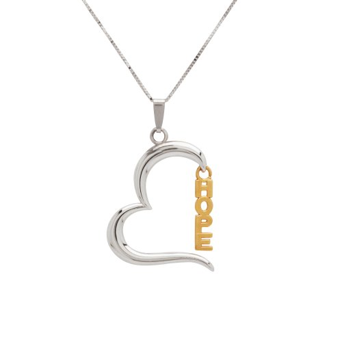 Bonded Sterling Silver and 14k Two-Tone Heart Hope Pendant Necklace, 18
