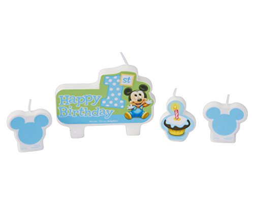 American Greetings Mickey Mouse 1st Birthday Candles (4 Count) - 1