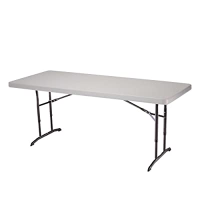 Lifetime 22920 6-Foot Adjustable Folding Table with 72 by 30-Inch Molded Top, Almond