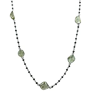 7.65 CTW 14K White Gold Necklace with Black Diamond Rosary Beads with Diamond Slices