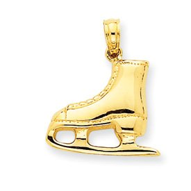 14k 3-D Ice Skate Boot Pendant - JewelryWeb