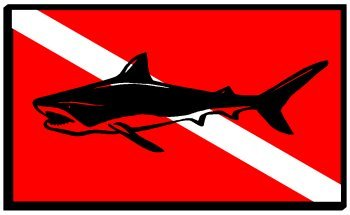 Shark Dive Flag Sticker Decal