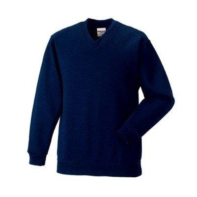 Russell - Felpa Scollo V Tinta Unita - Uomo (XL) (Blu navy)