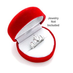 King Ice Red Heart Shaped Velvet Ring Jewelry Gift Box