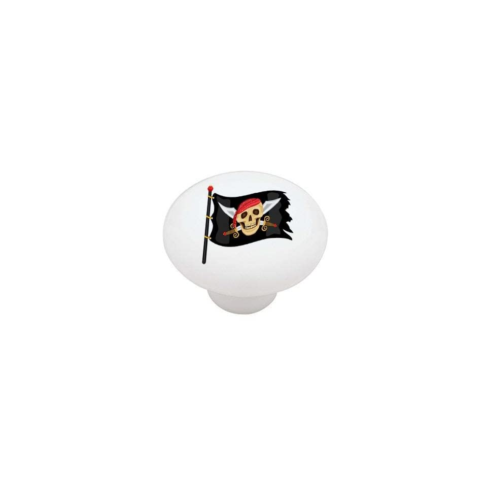 Jolly Roger Pirate Flag High Gloss Ceramic Drawer Knob