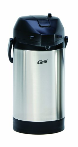 Wilbur Curtis Thermal Dispenser Air Pot, 3.0L S.S. Body S.S. Liner Lever Pump - Commercial Airpot Pourpot Beverage Dispenser - TLXA3001S000 (Each)