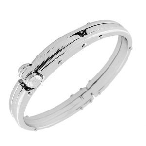 Handcuff Stainless Steel Silver Tone Mens Bracelet