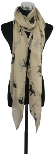 Large Light Beige Horse Print Chiffon Scarf or Sarong
