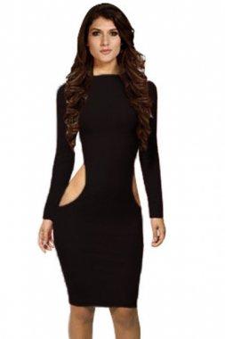 Pretty Girl Bodycon Cut out Black Midi Dress`