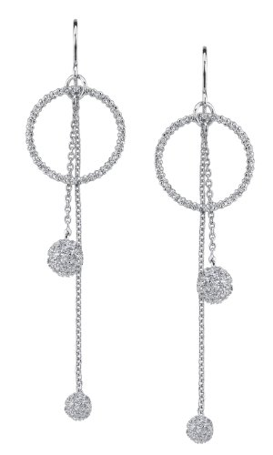 Seventeen Jewelry- Sterling Silver with Cz Circle with Dangles Ball Earrings