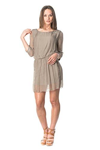 laura-moretti-seidenkleid-farbe-braun-mit-rundem-ausschnitt-taschen-und-detail-auf-schultern