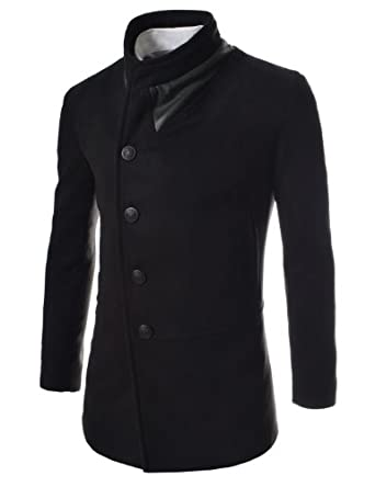 Buy TheLees Mens Unbalance High Neck Slim Pea Coat