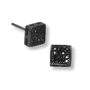 Square Black Cubic Zirconia Pave Stud Post Earrings Black Rhodium on Sterling Silver Mens or Womens