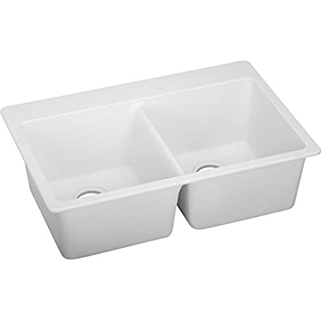 Elkay ELG3322WH0 Gourmet 22-Inch x 33-Inch Double Basin Drop-In Granite Composite Kitchen Sink, White