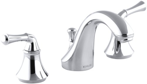 KOHLER K-10272-4A-CP Forte Widespread Lavatory Faucet with Traditional Lever Handles, Polished Chrome