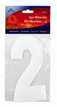 White Self Adhesive Wheelie Bin Numbers 17cm 2/Pk - 2 (WS512) Wheelie Bin / Dust bin / Dustbin Number Stickers