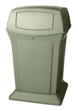 Rubbermaid Commercial Structural Foam 45-Gallon Ranger Fire-Safe Trash Can, Square, Beige