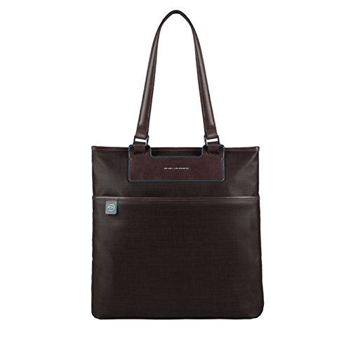 Piquadro Shopping, Collezione Aki, in Pelle e Tessuto, 38 cm, Marrone