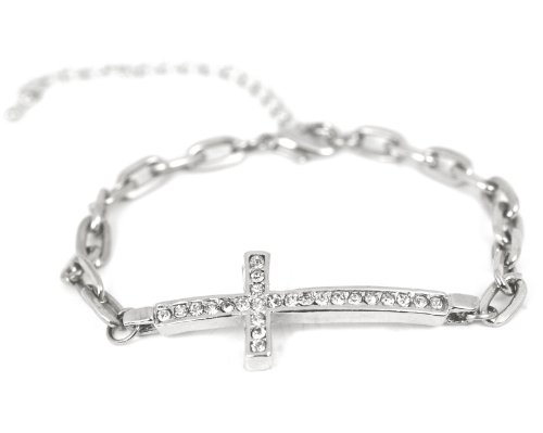 Silver Tone Horizontal Side Cross Bracelet for Women Cross Pave Sparkling Diamond Cut Crystal Elegant Trendy Fashion Jewelry