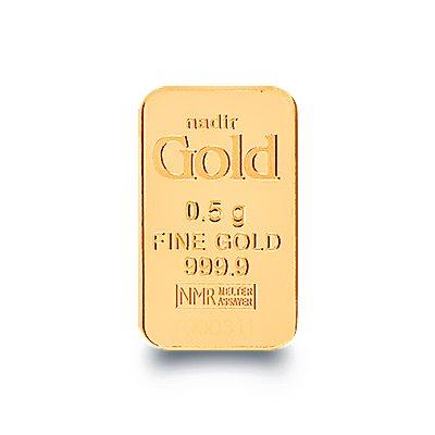 Nadir Goldbarren 0,5 Gramm, LBMA Zertifiziert Mit Hologramm Goldbarren 0,5 g, 0.5 Gramm Scheckkartenformat Feingold 999.9 geblistert Nadir Gold
