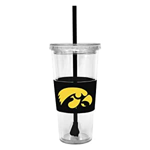 Buy NCAA Iowa Hawkeyes 22 Ounce Insulated Tumbler with Rubber Sleeve and Stir Straw by Boelter Brands