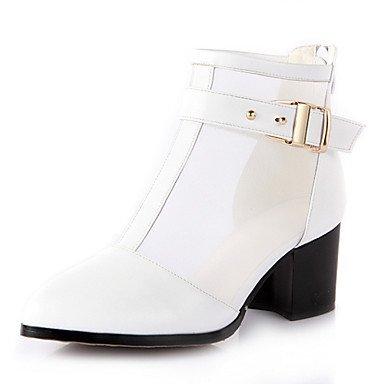 Stämmiger Absatz – Leder – FRAUEN – Booties / Stiefeletten – Spitze Zehe/Fashion Boots – Stiefel ( Schwarz/Weiß/Beige ) online bestellen