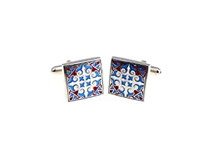 Mexican Fiesta Red and Blue Cufflinks