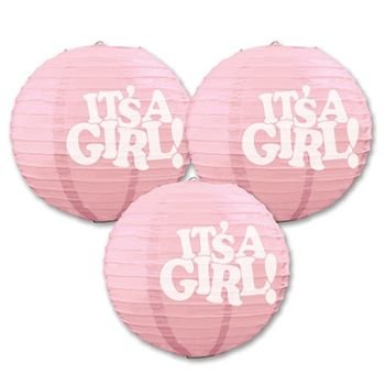 Beistle 54575 3-Pack It's a Girl! Paper Lanterns, 9-1/2-Inch - 1