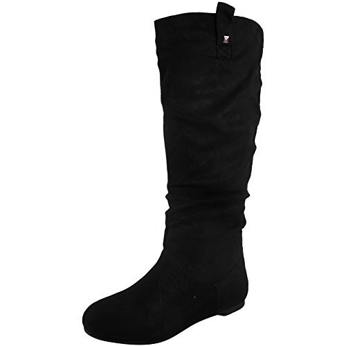womens-pixie-mid-calf-rouched-flat-pull-on-knee-long-ladies-slouch-boots-size-3-8-6-black-suede