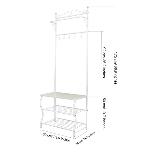 Metal Rack Stand Hanger Hooks Shelf Entryway Storage Coat Shoe Bench Hats Bags Ebay