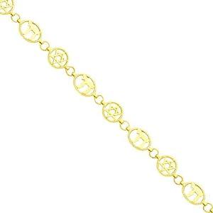 14K Gold Chai & Star of David Link Bracelet 8