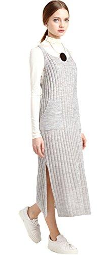 Senza Maniche Midi Mid Calf laterale Spacco Spacchi Shift Dritto a coste Rib Knit Canotte Dress Vestito Abito Grigio XL
