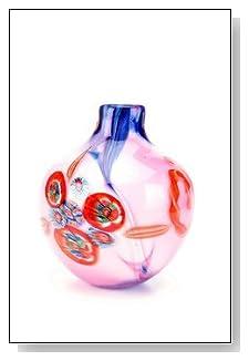 Murano Design Glass Pink Millefiori Rainbow Vase V136-Lw17