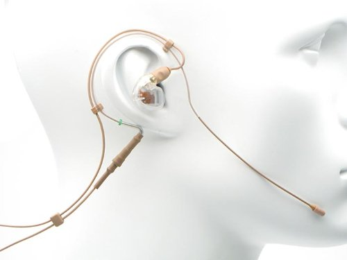 Countryman Em6Iow7T1Sy4R Springy Soft Em6 Omnidirectional Earset With Cable And Se425 Single Right Earphone For Sony Transmitters, Strong Vocals, Tan