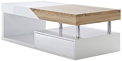 Robas Lund 58229WE6 HOPE Table basse MDF laqué Blanc 60 x 120 x 42 cm