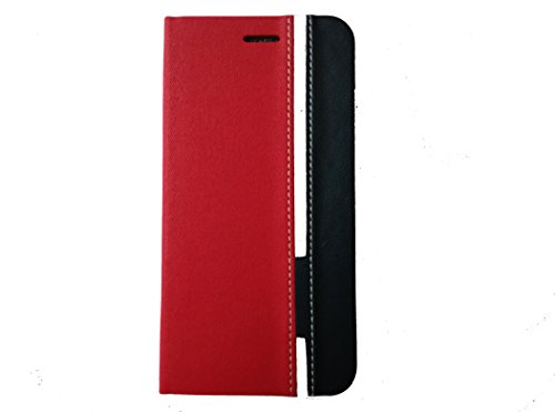 For Micromax Canvas Turbo A250 Premium Leather Flip Cover Case with Back Stand, RED + BLUE