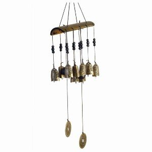 StealStreet SS-OS-45008 22 inch 10 Tibetan Hanging Bells Wind Chime, Brown & Gold Color