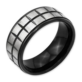 Genuine IceCarats Designer Jewelry Gift Titanium 9Mm Brushed & Polished Band Size 13.00