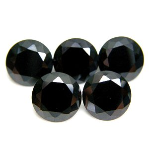 Round 9mm Black CZ Cubic Zirconia Loose Stone Lot of 50 Pieces