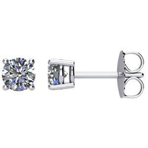 Genuine IceCarats Designer Jewelry Gift 14K White Gold Diamond Earrings With Backs. Diamond Earrings With Backs In 14K White Gold