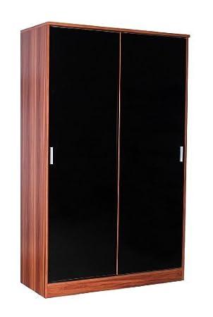 Negro brillante de madera de nogal y armario con puertas correderas - Ottawa de SUPREME Caspio