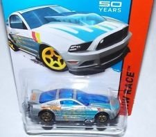 2014 Hot Wheels '13 Ford Mustang GT Silver and Blue 161/250 HW RACE Track Aces 50th Year Mustang Anniversary - 1