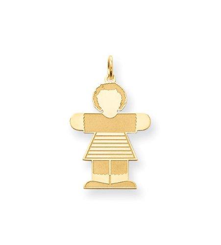 24k Gold Plated Girls Dress Polished Charm Pendant