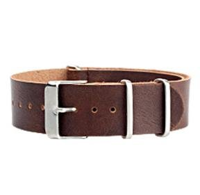 NATO troops strap type belt (by band 20 mm) leather, dark brown