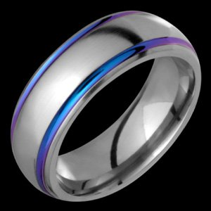 Sparklia - size 5.75 Titanium Ring with Multicolor Grooves. Choose your Color for Free!