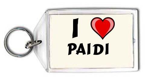 Schlüsselhalter mit Aufschrift Ich liebe Paidi (Vorname/Zuname/Spitzname)